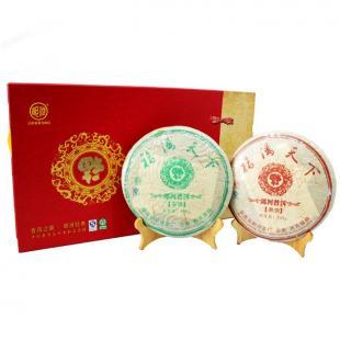 郎河2007年福满天下礼品茶 郎河茶厂普洱茶生熟套装礼盒 500g/饼