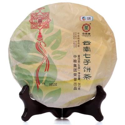 2014年中茶牌普洱云南七子饼茶中国结-红丝带-生茶357g