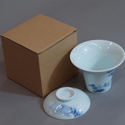 后月 青花瓷盖碗 月下喝茶 烟波浩渺 手绘工艺 180cc大容量