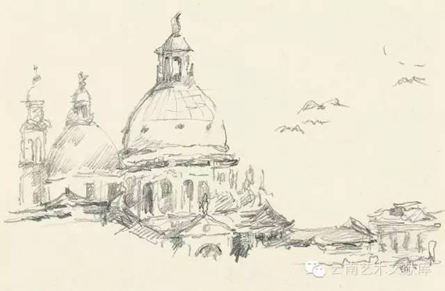 手绘威尼斯铅笔画