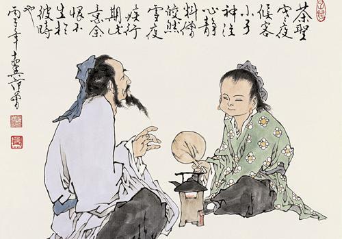 古代人物泡茶矢量图